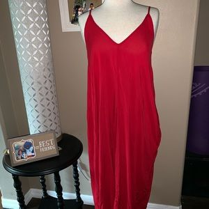 Long Red Linen Dress